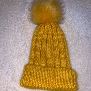 Accessories - Mustard colored hat with puffy ball